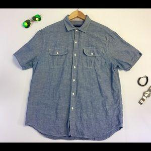 Tommy Bahama Mens L Denim Blue Linen Button Up